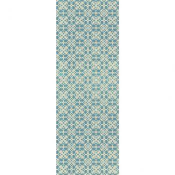 Ruggable Washable Rug - Floral Tiles Aqua Blue & White (67 cm x 210 cm)-0