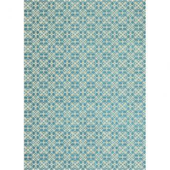 Ruggable Washable Rug - Floral Tiles Aqua Blue & White (150cm x 210 cm)-0